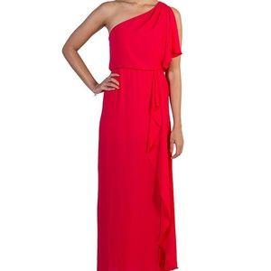 BCBGMaxAzria one-shoulder cascading dress